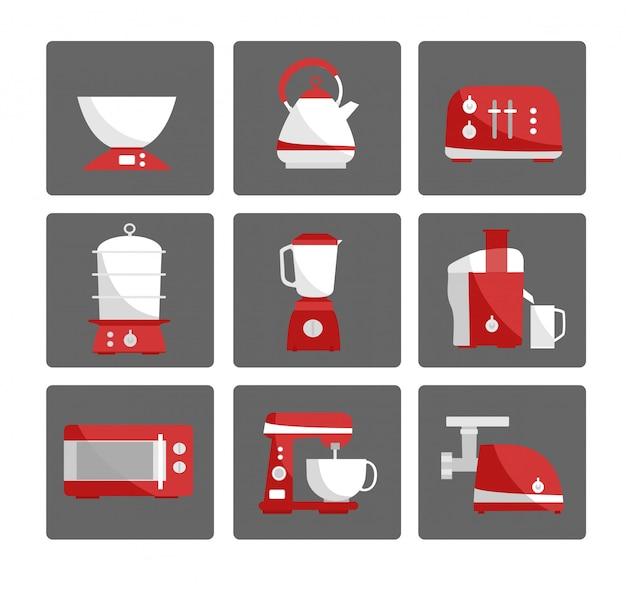 Kitchen appliances collection. icons. Premium Vector
