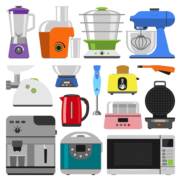 Kitchen appliances collection Premium Vector