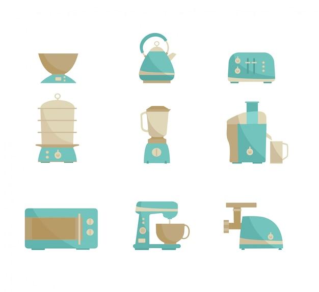 Kitchen appliances collection. Premium Vector