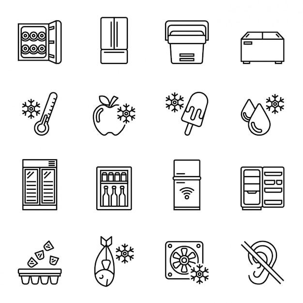 Kitchen appliances, equipment, freeze refrigerator icon set. line style stock Premium Vector