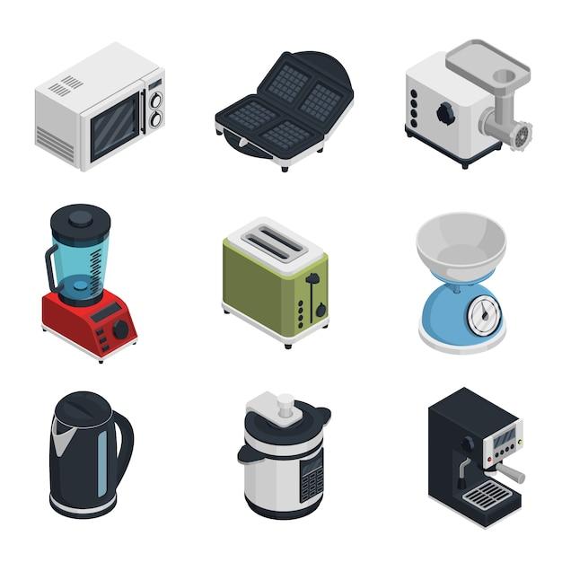 Kitchen appliances icons set Free Vector
