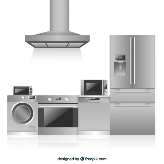Kitchen appliances in flat design vector premium download for Kitchen design vector