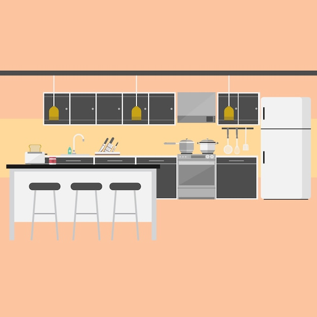 Kitchen background design vector free download for Interior design photos free download