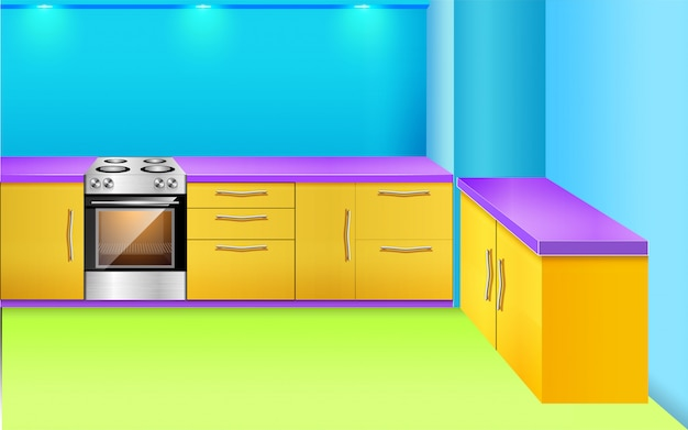 on sale 968d4 2fdd1 Kitchen background with racks stove window light Vector ...