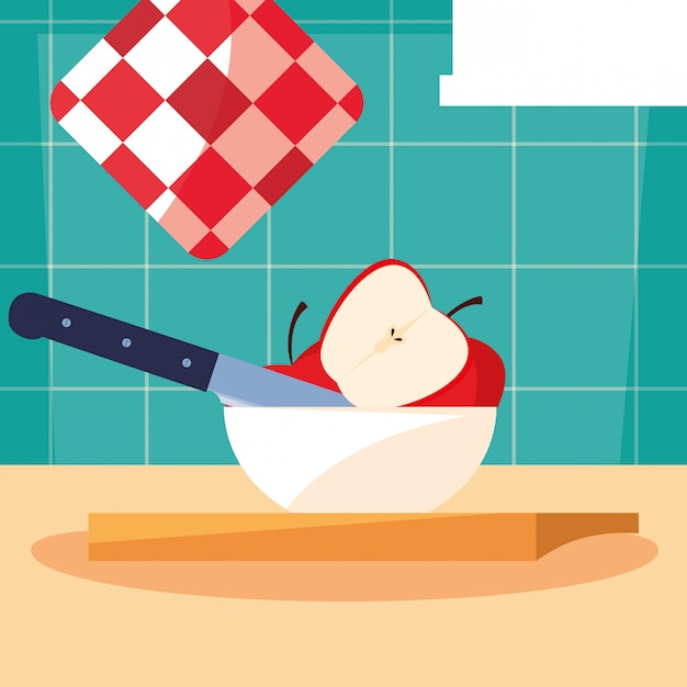 Kitchen board with apples in bowl and knife Premium Vector