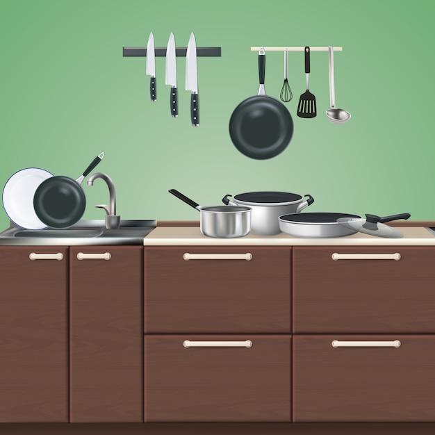 緑の3 dイラストを現実的な調理器具と茶色のキッチン家具 無料ベクター