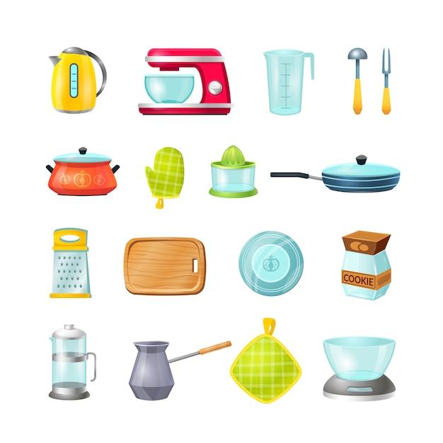 Kitchen cartoon icon set, kitchen cooking. Premium Vector