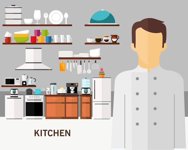 Kitchen concept background. flat icons. Premium Vector