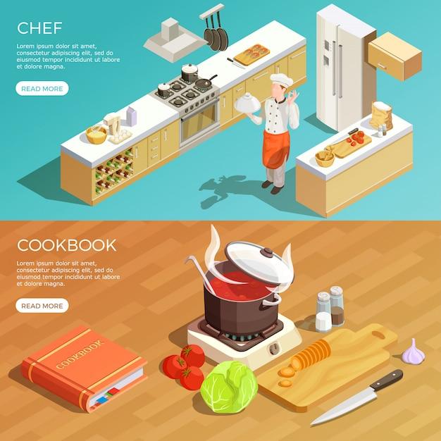 Kitchen cookbook banners set Free Vector