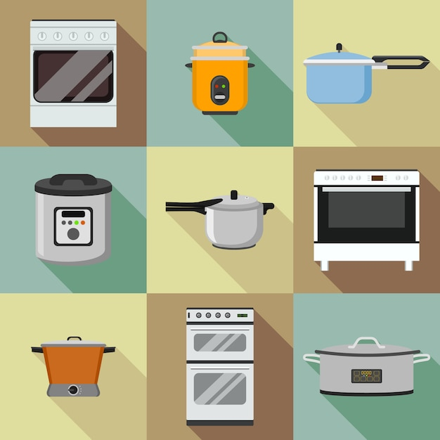 Kitchen cooker icon set. flat set of kitchen cooker icons for web design Premium Vector