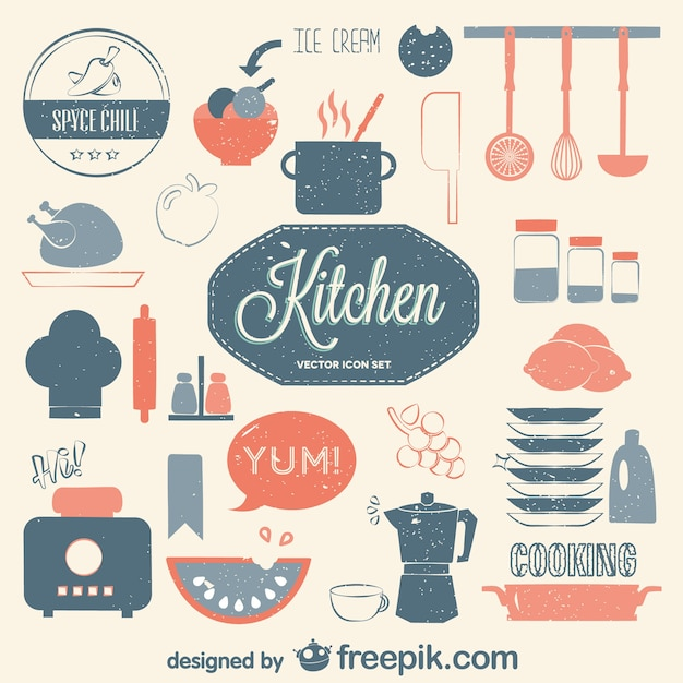 Kitchen and cooking elements collection Free Vector