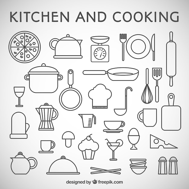 77e153a78f Kitchen and cooking icons Premium Vector