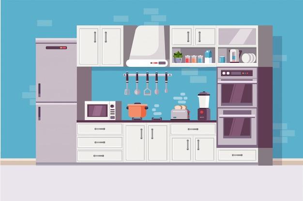 Kitchen cozy modern interior with kitchen tools and item. Premium Vector