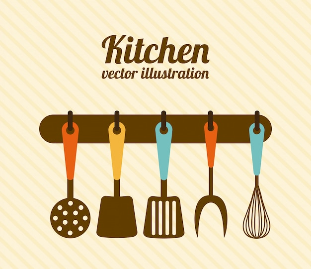 Kitchen design over beige background vector illustration Premium Vector
