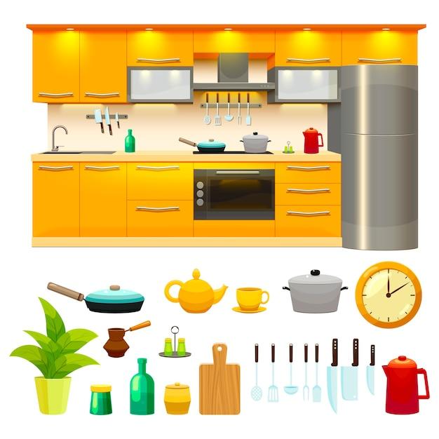 Набор иконок дизайн кухни Бесплатные векторы