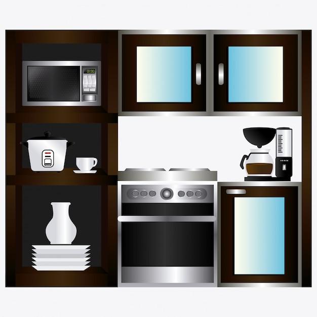 Kitchen design. Premium Vector