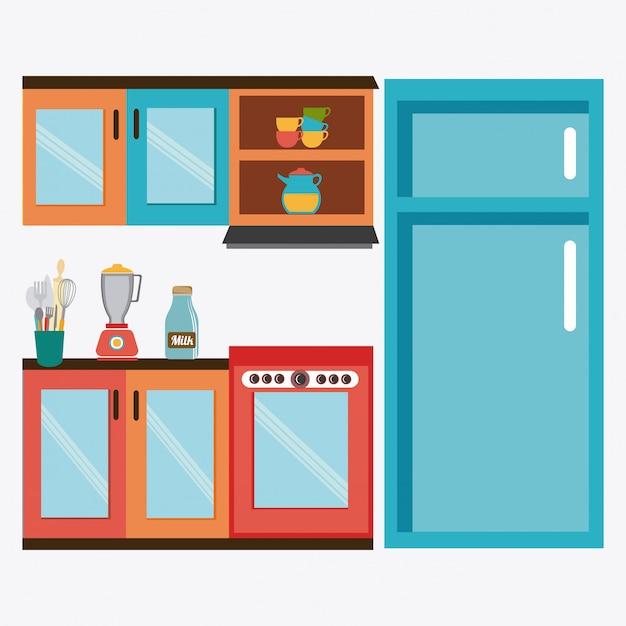 Kitchen design. Vector | Premium Download