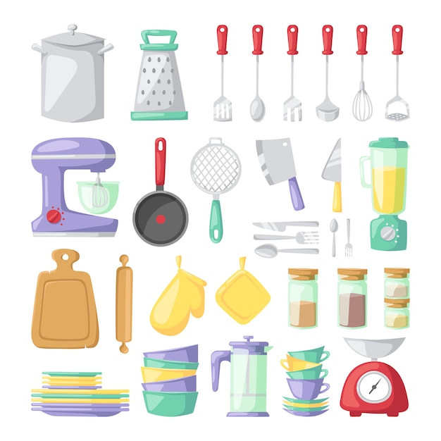 Kitchen dishes vector flat elements isolated Premium Vector