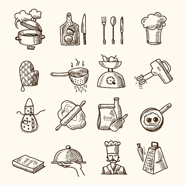 Kitchen elements icons collection Premium Vector