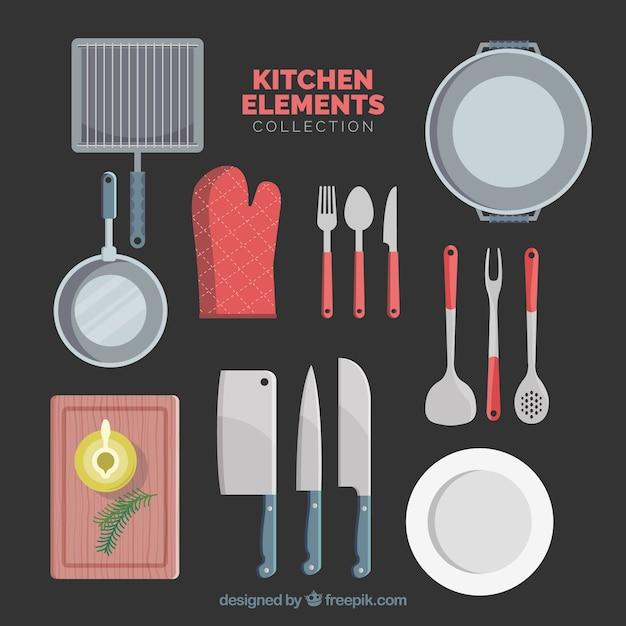 Кухонные элементы в плоском desing Бесплатные векторы