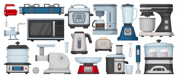 Kitchen equipment cartoon set icon. isolated cartoon set icon household appliance. illustration kitchen equipment on white background. Premium Vector
