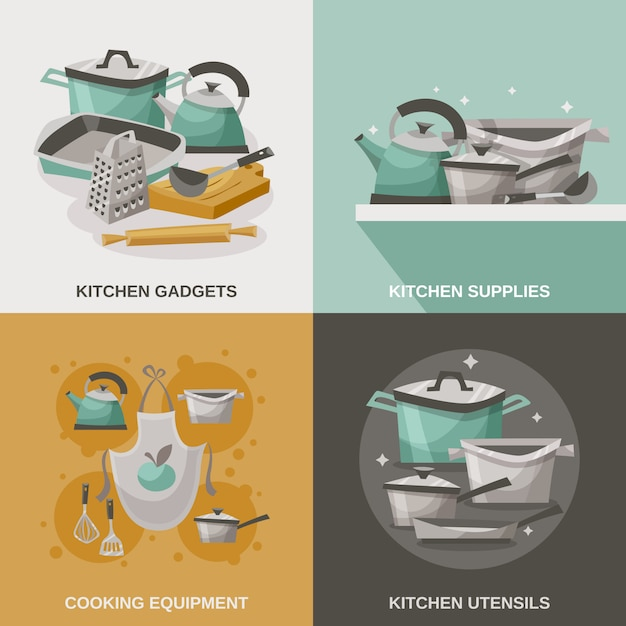 Kitchen equipment icons set Free Vector