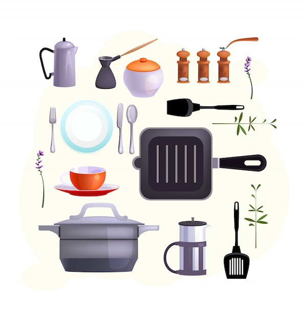 Kitchen equipment icons Free Vector