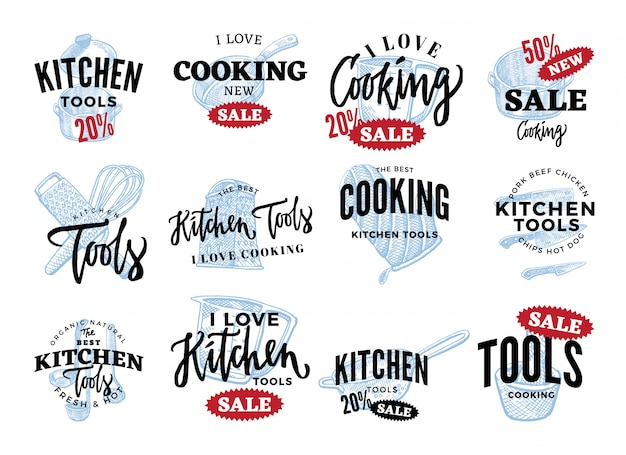 Kitchen equipment sale logos set Free Vector