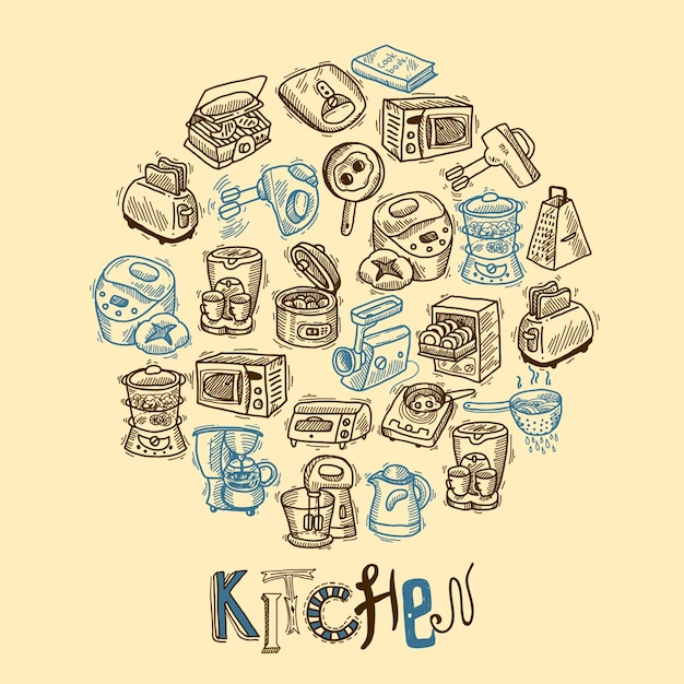 Kitchen equipment sketch Free Vector