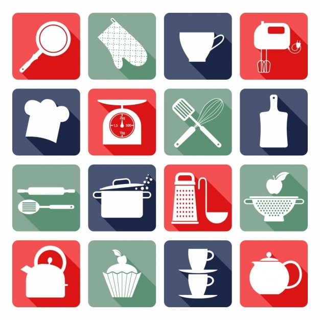 Kitchen flat icons Free Vector