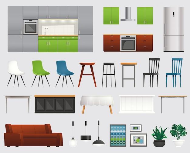 Kitchen furniture accessories flat set Free Vector