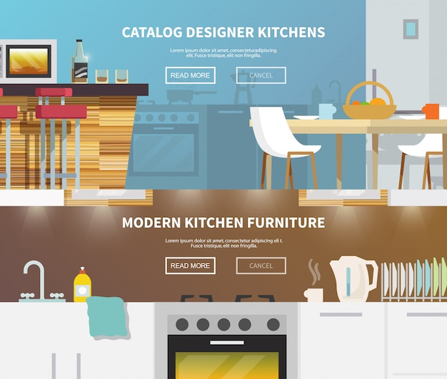 Kitchen furniture banner Free Vector