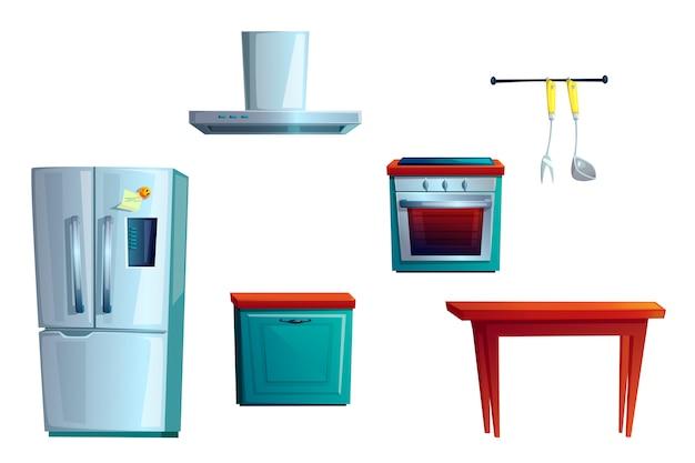 Mobili da cucina, set per la creazione di interni di cartoni animati Vettore gratuito