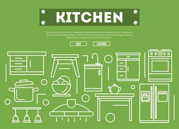 Kitchen furniture  in linear style Premium Vector