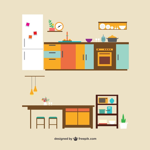Cartoon Kitchen Furniture: Kitchen Furniture Vector