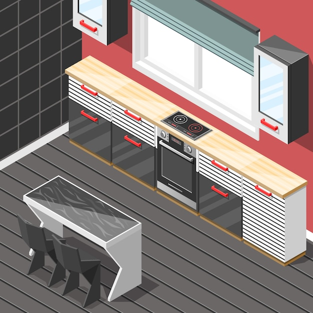 Kitchen futuristic interior isometric Free Vector