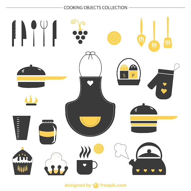 Kitchen graphic elements Free Vector