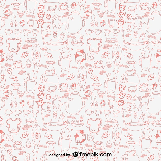 Kitchen graphics pattern Free Vector