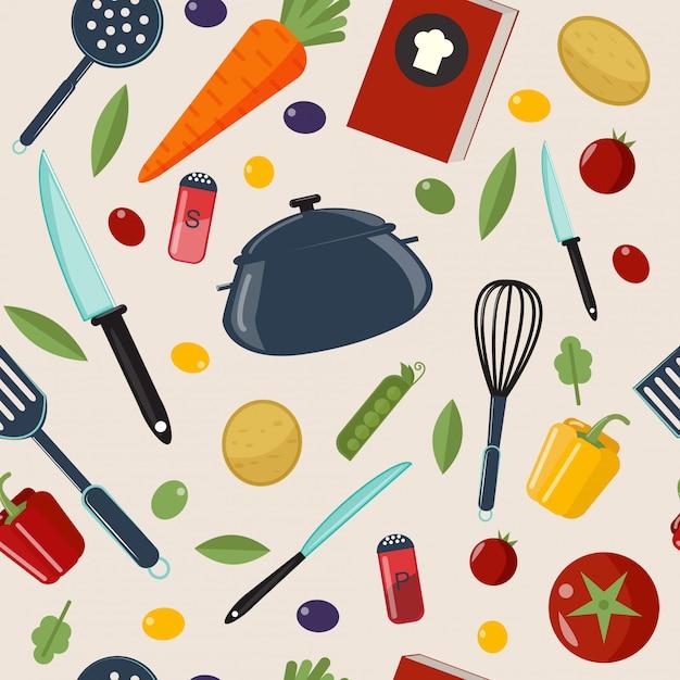 Kitchen healthy cooking seamless pattern Premium Vector