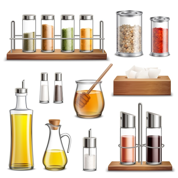 Kitchen herbs spices realistic set Free Vector