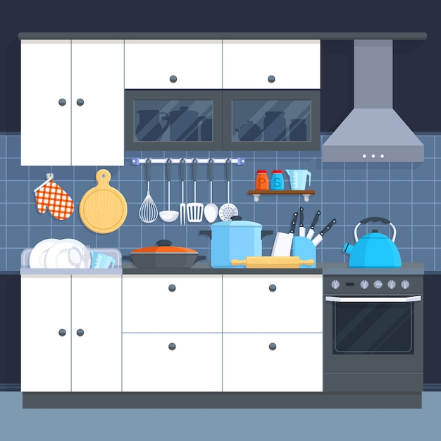 Kitchen home interior with oven and kitchenware vector illustration. Premium Vector