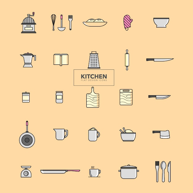 Kitchen icons collection Free Vector