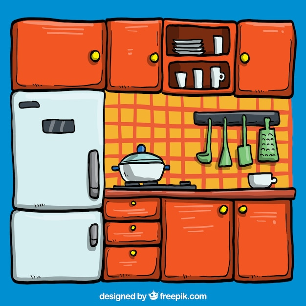 Kitchen illustration vector free download for Art cuisine cookware