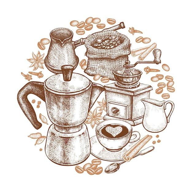 Кухонные принадлежности для приготовления кофе. Premium векторы