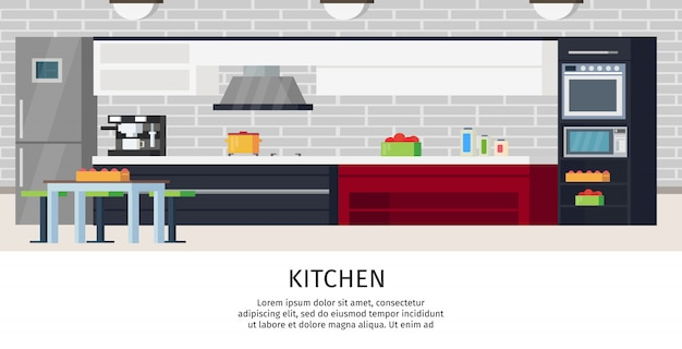 Kitchen interior design composition Free Vector