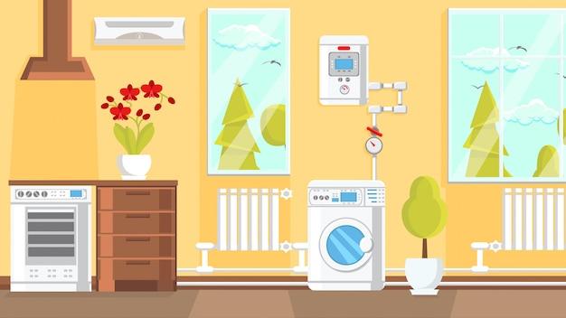 Kitchen interior design flat vector illustration. Premium Vector