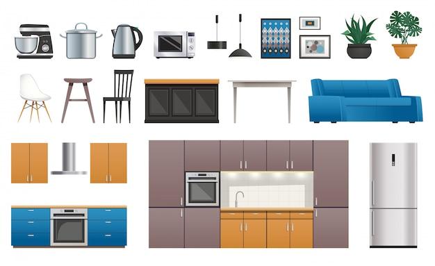 Kitchen interior elements icons set Free Vector