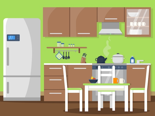 Kitchen interior in flat style Premium Vector