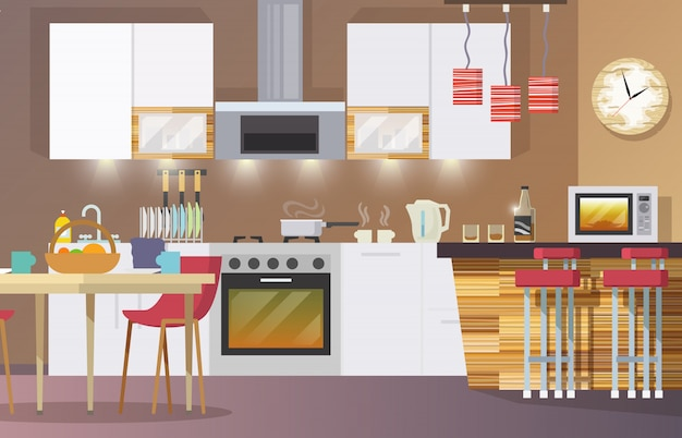 Kitchen interior flat Free Vector