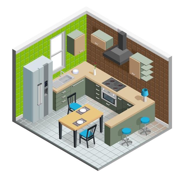 Kitchen Interior Illustration Vector Free Download